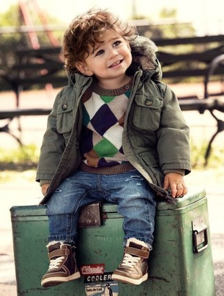 How to wear: olive parka, multi colored sweater, blue jeans, brown sneakers