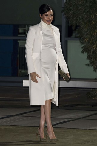 How to wear: olive suede clutch, olive suede pumps, white sweater dress, white coat