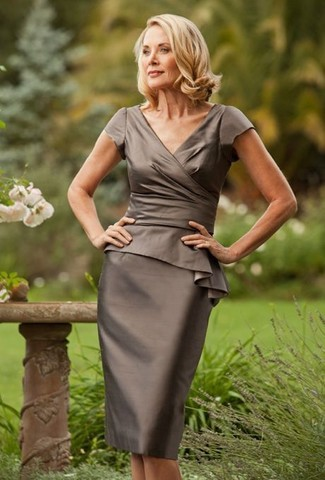 Women's Olive Satin Sheath Dress