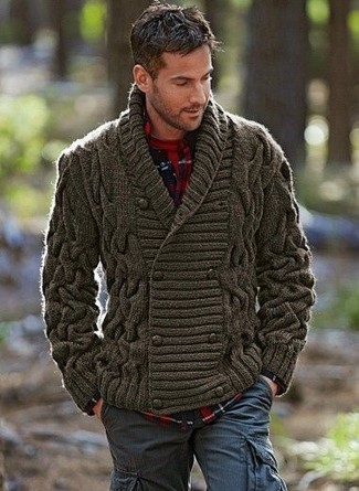 How to wear: olive shawl cardigan, navy and red plaid flannel long sleeve shirt, red crew-neck t-shirt, navy cargo pants