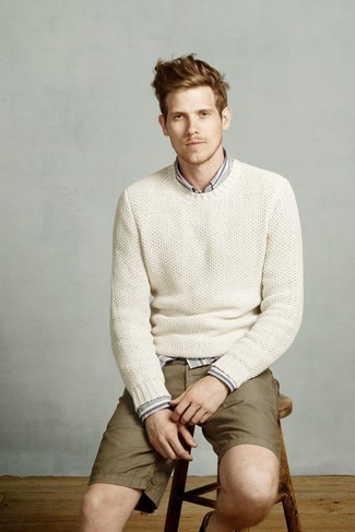 How to wear: olive shorts, grey vertical striped long sleeve shirt, white knit crew-neck sweater