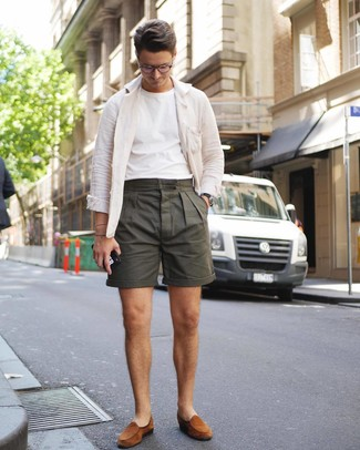 How to wear: tobacco suede loafers, olive shorts, white crew-neck t-shirt, white linen shirt jacket