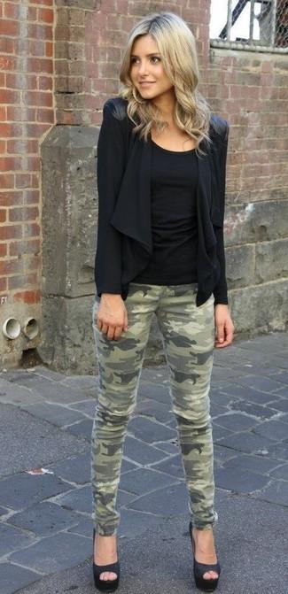 How to wear: black satin pumps, olive camouflage skinny jeans, black tank, black open cardigan