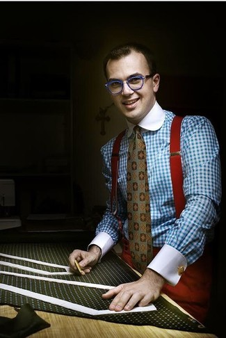 How to wear: red suspenders, olive print tie, red dress pants, light blue gingham dress shirt