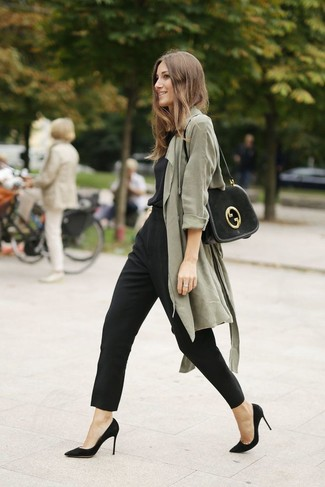 If you like a more casual approach to fashion, why not dress in a Stella McCartney women's Oversized Trench Coat and a black jumpsuit? Sporting a pair of black suede pumps is an easy way to add some flair to your outfit. These picks will keep you comfortable and stylish in summer-to-fall weather.