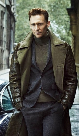 How to wear: olive turtleneck, charcoal wool suit, olive leather trenchcoat