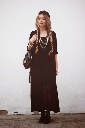 Rock a black chiffon open cardigan with jewelry, if you want to dress for comfort without looking like a hobo. Add black suede ankle boots to your look for an instant style upgrade. When leaves change color and fall is at its best, you'll appreciate how great this look is for unpredictable fall weather.