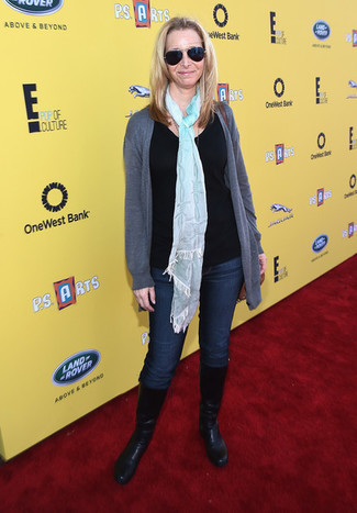 Lisa Kudrow wearing Grey Open Cardigan, Black Crew-neck Sweater, Navy Jeans, Black Leather Mid-Calf Boots