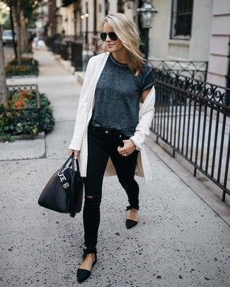 How to wear: white open cardigan, charcoal crew-neck t-shirt, black ripped skinny jeans, black suede loafers