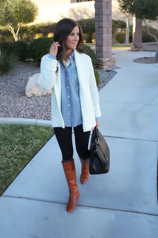 Opt for comfort in a white knit open cardigan and black leggings. Amp up the cool of your getup by wearing Aquazzura Brera Boots. An ensemble like this is great for winter-to-spring weather.