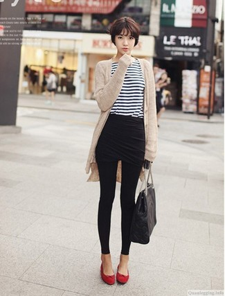 How to wear: beige open cardigan, white and navy horizontal striped long sleeve t-shirt, black mini skirt, black leggings