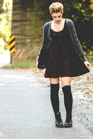 How To Wear a Burgundy Floral Skater Dress With Black Leather Lace ... 94b4242cf