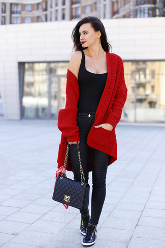 Women's Burgundy Knit Open Cardigan, Black Tank, Black Leather Skinny Jeans, Black Leather Low Top Sneakers