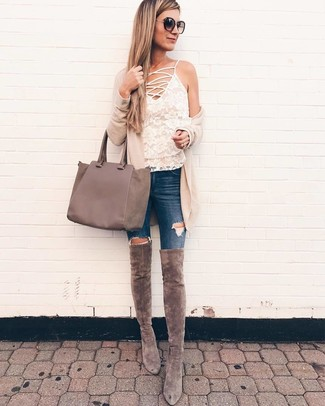 Pair a beige open cardigan with a New Look Lilo Handbag Mid Grey, if you want to dress for comfort without looking like a hobo. A cool pair of grey suede over the knee boots is an easy way to upgrade your look. A look like this is perfect for transeasonal weather.