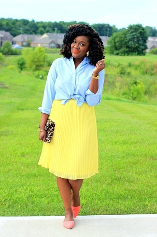 How to wear: tan leopard suede clutch, orange leather ballerina shoes, yellow pleated midi skirt, light blue dress shirt