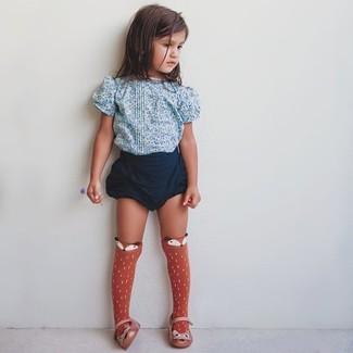 How to wear: orange socks, orange ballet flats, navy shorts, light blue floral t-shirt