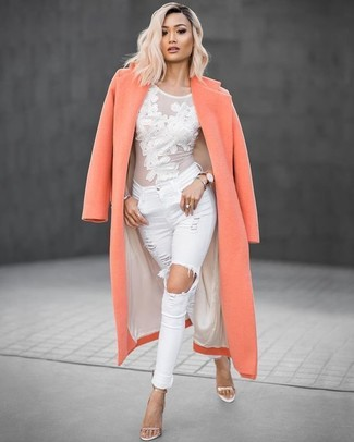 How to wear: orange coat, white mesh long sleeve t-shirt, white ripped skinny jeans, gold leather heeled sandals
