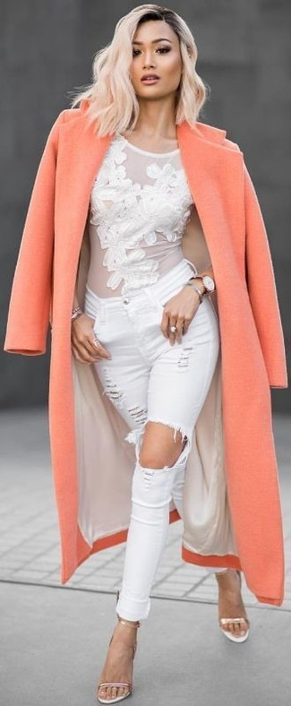 How to wear: orange coat, white lace long sleeve t-shirt, white ripped skinny jeans, gold leather heeled sandals