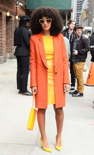 How to wear: orange coat, yellow sheath dress, yellow leather pumps, yellow leather clutch