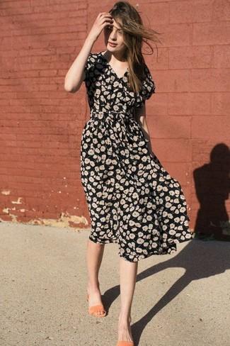 How to wear: orange leather flat sandals, black floral midi dress