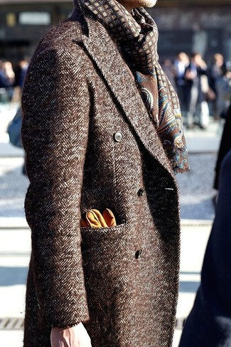 How to wear: orange leather gloves, brown print scarf, brown overcoat