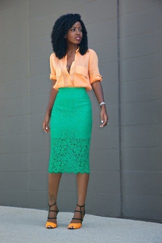 How to wear: orange leather heeled sandals, green lace pencil skirt, orange button down blouse