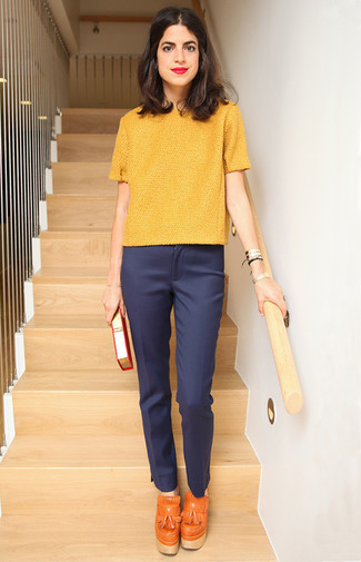 How to wear: orange leather tassel pumps, navy dress pants, yellow short sleeve sweater