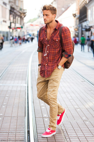 How to wear: orange plaid long sleeve shirt, khaki chinos, hot pink low top sneakers, brown backpack