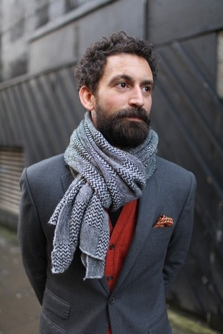 How to wear: grey chevron scarf, orange print pocket square, red cardigan, charcoal blazer