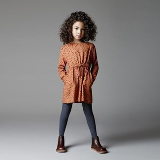 How to wear: orange polka dot dress, dark brown leather boots, charcoal tights