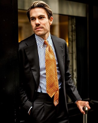 How to wear: orange print tie, white and blue vertical striped dress shirt, black suit