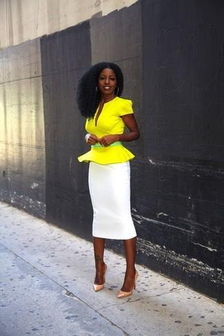 d11387f9e ... Women's Green Leather Belt, Orange Leather Pumps, White Pencil Skirt,  Yellow Peplum Top