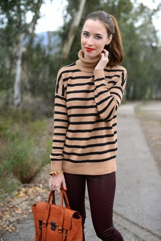 Women's Looks & Outfits: What To Wear In 2020: This combo of a tan horizontal striped turtleneck and burgundy leather skinny pants provides comfort and confidence and helps keep it low-key yet trendy.