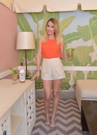 Orange tank beige shorts beige heeled sandals large 1499