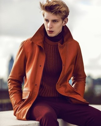How to wear: orange leather trenchcoat, tobacco cable sweater, burgundy turtleneck, burgundy corduroy jeans