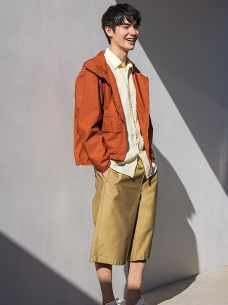How to wear: orange windbreaker, yellow linen long sleeve shirt, tan shorts, white low top sneakers