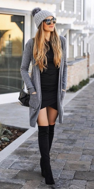How to Wear a Grey Knit Beanie For Women: This relaxed casual combo of a grey open cardigan and a grey knit beanie is simple, stylish and oh-so-easy to recreate! On the shoe front, go for something on the classier end of the spectrum with a pair of black suede over the knee boots.