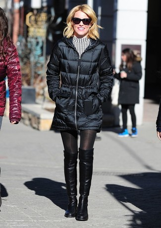 How to wear: black sunglasses, black leather over the knee boots, white and black check casual dress, black puffer coat