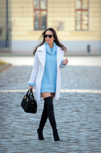 How to wear: black suede satchel bag, black suede over the knee boots, aquamarine knit cowl-neck sweater, white coat