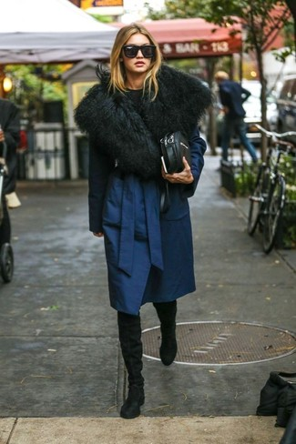 How to wear: black leather crossbody bag, black suede over the knee boots, black crew-neck sweater, navy coat