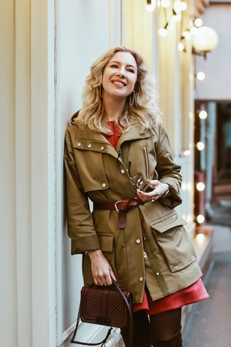 How to wear: dark brown leather crossbody bag, dark brown suede over the knee boots, red fit and flare dress, olive parka