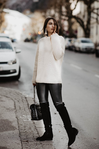 How to wear: black quilted leather crossbody bag, black suede over the knee boots, black leather leggings, white cable sweater