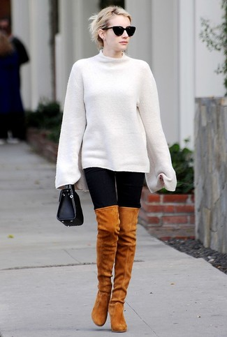 How to wear: black leather handbag, tobacco suede over the knee boots, black leggings, white oversized sweater