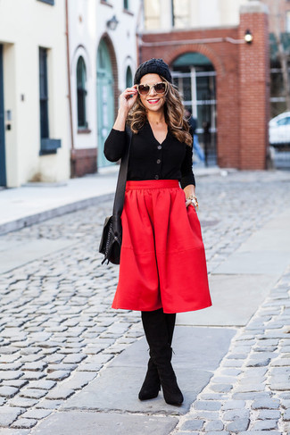 How to wear: black leather crossbody bag, black suede over the knee boots, red pleated midi skirt, black cardigan