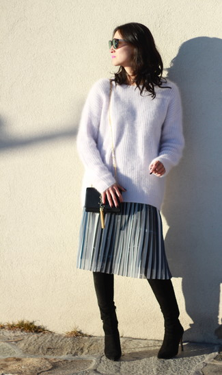 How to wear: black leather crossbody bag, black suede over the knee boots, grey pleated midi skirt, beige mohair oversized sweater