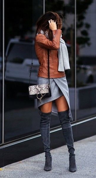 How to wear: grey snake leather crossbody bag, charcoal suede over the knee boots, grey slit mini skirt, tobacco leather biker jacket
