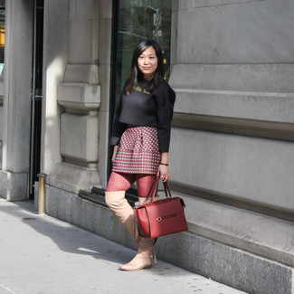 How to wear: burgundy leather tote bag, tan leather over the knee boots, red print mini skirt, black cropped sweater