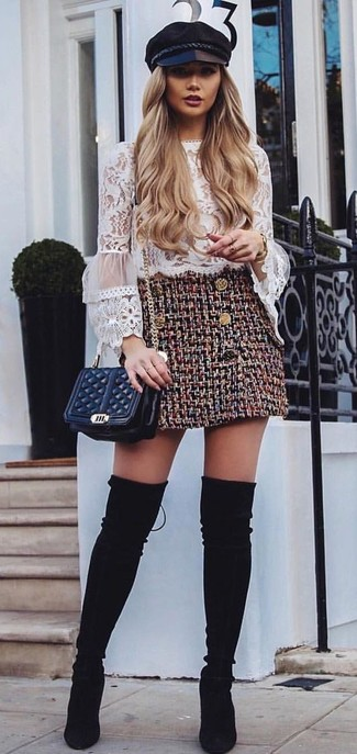 How to wear: black quilted leather crossbody bag, black suede over the knee boots, burgundy tweed mini skirt, white ruffle lace long sleeve blouse