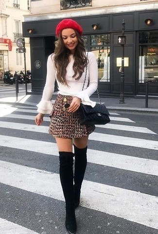 How to wear: black quilted leather crossbody bag, black suede over the knee boots, burgundy tweed mini skirt, white ruffle long sleeve blouse