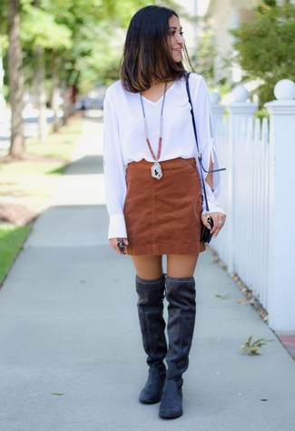 How to wear: black leather crossbody bag, black suede over the knee boots, brown suede mini skirt, white long sleeve blouse